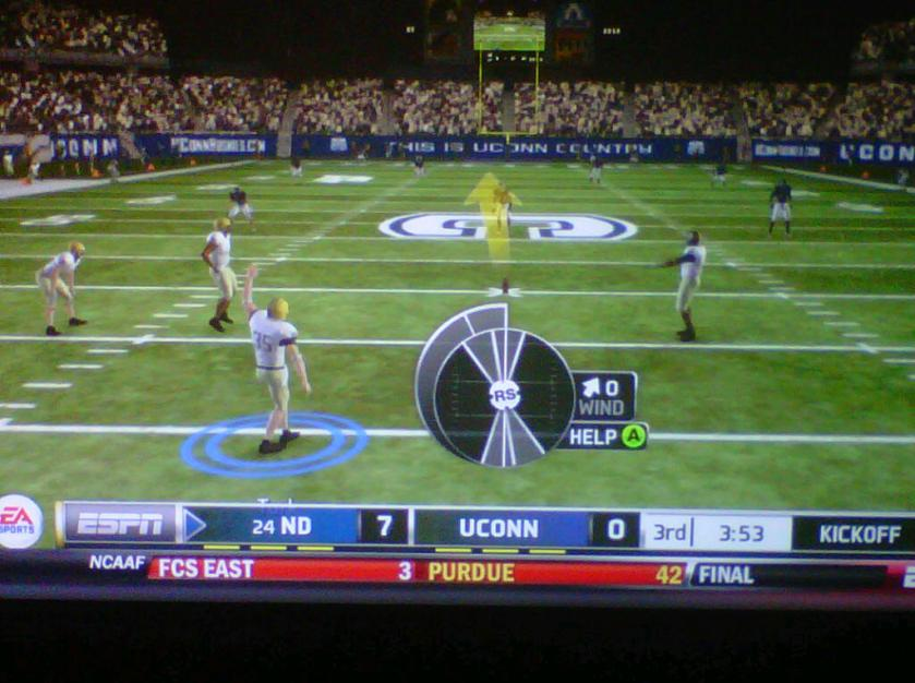 A game of NCAA Football 2013 on the XBOX 360.  I played Notre Dame and beat UConn 17-7.
