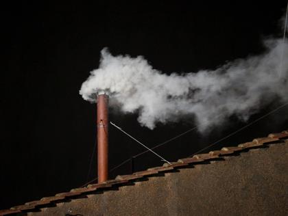White Smoke from the Sistine Chapel, 2:06pm EDT, March 13, 2013.