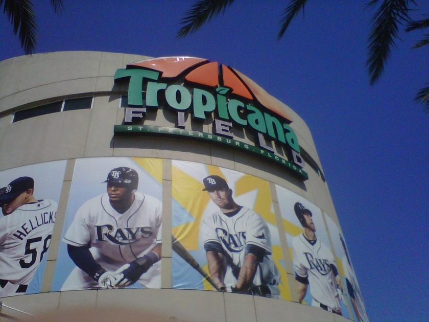 The entrance to Tropicana Field, St. Petersburg, FL on March 30, 2013.