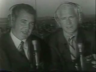 Pat Summerall and Jack Buck get ready to call Super Bowl IV for CBS, January of 1970.