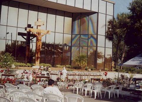 "The building with the ""Virgin Mary"" on the windows, Clearwater, Florida, some time ago."