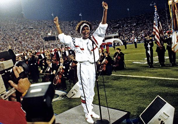 Whitney Houston sings the National Anthem at Super Bowl XXV, January 27, 1991.