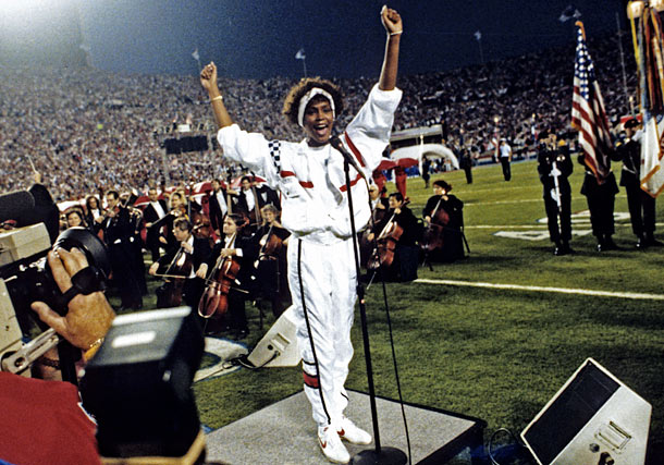 Whitney Houston sings the National Anthem at Super Bowl XXV, January 27, 1991.