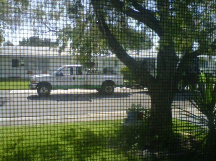 Ameripride blocking a neighboring driveway, June 13, 2013.