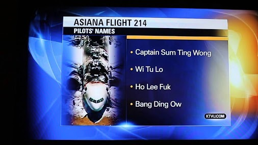 San Francisco Bay Area station KTVU, a FOX station, is now being sued by Asiana airlines over the airing of these fraudlent names.
