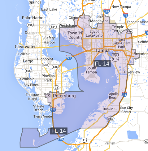 The map of the 14th congressional district, which I found on govtrack.us