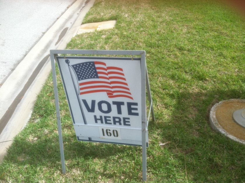 The voting sign at my polling pace, March 11, 2014.  Actually, I voted by mail several weeks prior to this.
