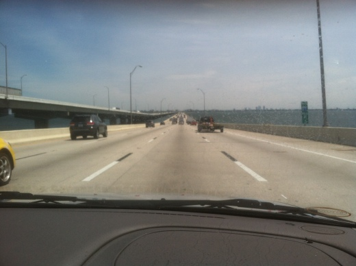 On top of the Howard Frankland Bridge that connects Pinellas County to Tampa.  April 17, 2014.