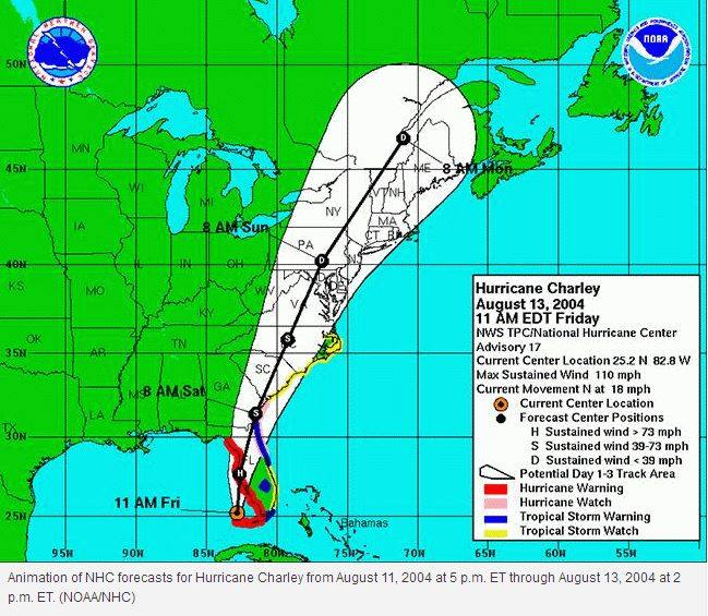 What Hurricane Charley was projected to do, the morning of August 13th, 2004.  Instead, Charley made a hard right and went through Orlando and up the Atlantic coast.