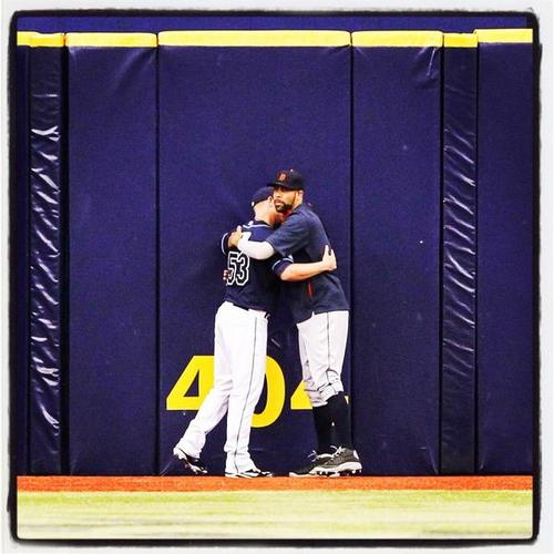 Alex Cobb of the Tampa Bay Devil Rays hugs David Price, now a Detroit Tiger, formerly a Ray.  August 21, 2014.