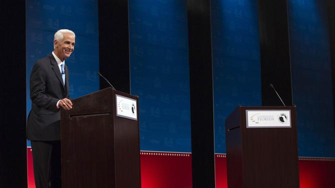 Gubernatorial candidate Charlie Crist is ready to debate, but where's the governor of Florida?