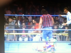 "The late Matt ""Big Josh"" Osborne is wrestling Ricky Morton at Wrestlewar '92 in Jacksonville, Florida.  I'm on the left in the stands walking by."