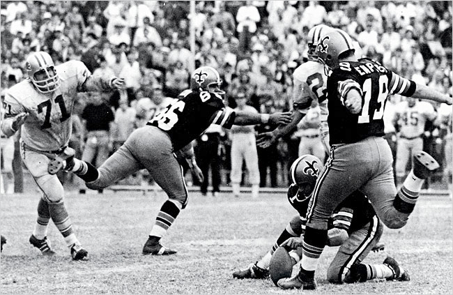 Tom Dempsey is about to shock the Pro Football world on November 8, 1970 as he kicks a then NFL record 63 yard field goal to give the New Orleans Saints a 19-17 win over Detroit on that game's last play.